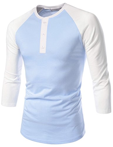 NEARKIN (NKNK7HT620) Unisex 3/4 Henley Neck Raglan Sleeve Slim Cut Tshirts SKYBLUEWHITE US S(Tag size - 3/4 Sleeve Henley Raglan