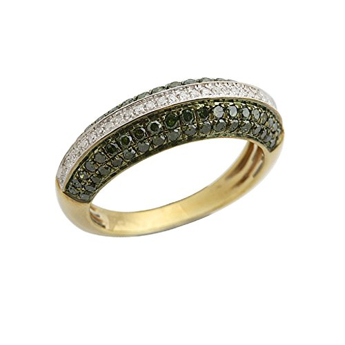 Brand New 0.75 Total Carat Weight Real Green Color Diamond & Diamond Wedding Band, 925 Sterling Silver, Size 11.5