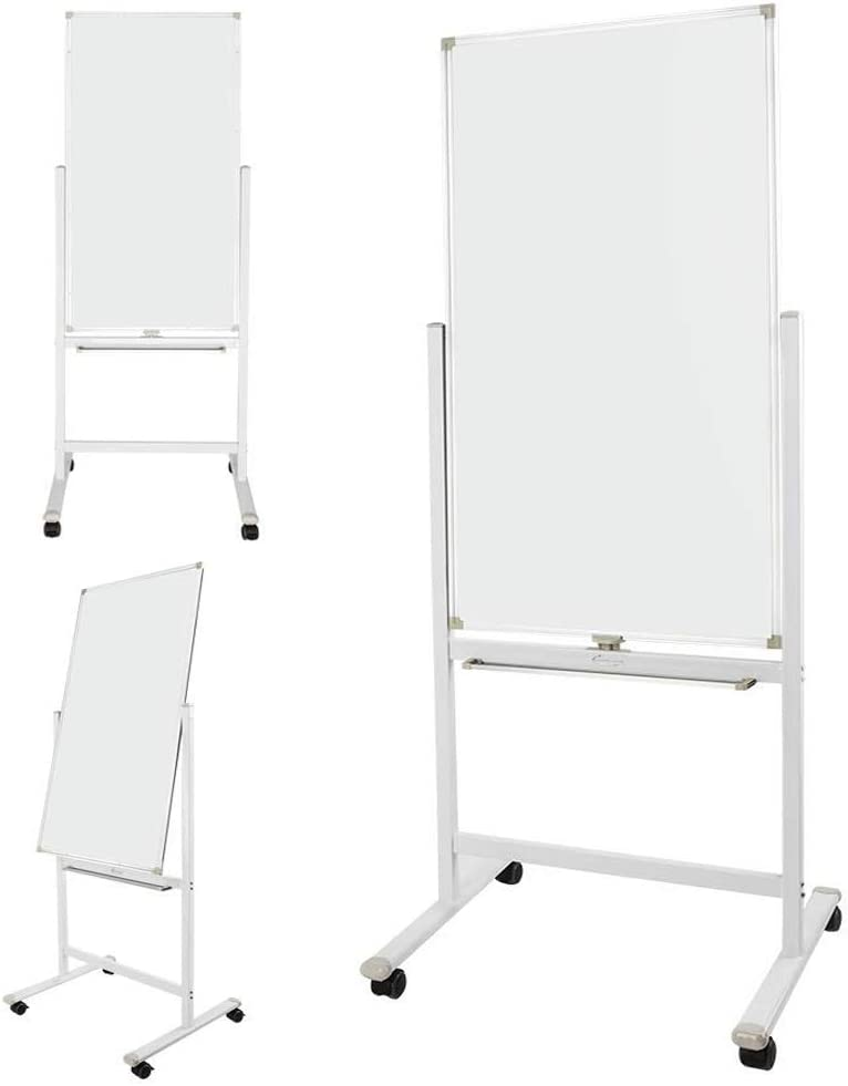 ShowMaven 48 x 24 Inch Mobile Whiteboard 360°Double-Sided Magnetic Dry Erase Board,74