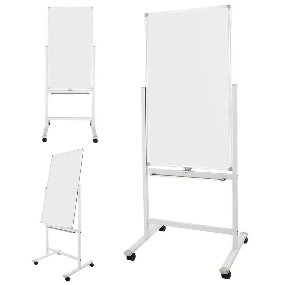 ShowMaven 48 x 24 Inch Mobile Whiteboard 360°Double-Sided Magnetic Dry Erase Board,74''H with Stand on Rolling Wheels with Brake,Portable Chalkboard for Multi-Functional Office Home Meeting Teaching