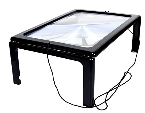 3x Lamp Reading Magnifier Desktop Full Page Illuminated Magnifier with Foldable Support Frame - for Making Jewelry and Reading - Glasses Frames Perspex