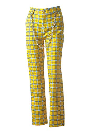 (Nimpansa Women Wide Plaid Pants Casual Chain Belted Long Loose Trouser Yellow L)