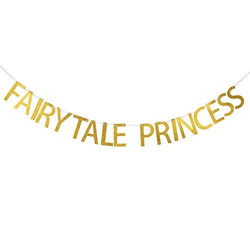 Fairytale princess banner/girls Birthday Party Decoration&Supplies/Gold ()