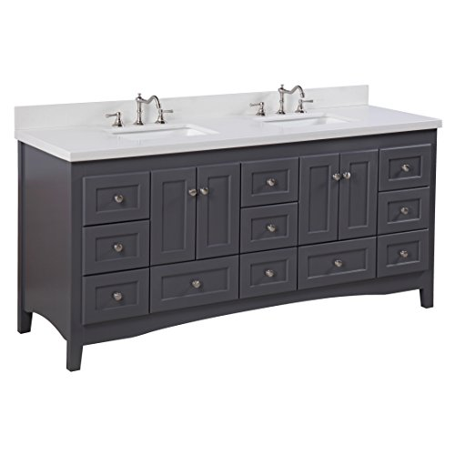 Abbey 72-inch Double Bathroom Vanity (Quartz/Charcoal Gray): Includes a Charcoal Gray Cabinet, Quartz Countertop, Soft Close Drawers and Doors, and Rectangular Ceramic (Ronbow Stone Counter)