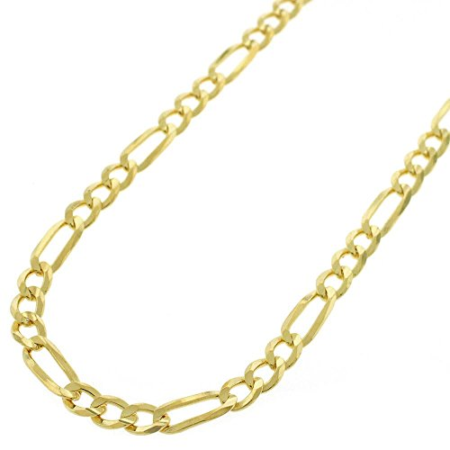 (14k Yellow Gold 4mm Solid Figaro Link Necklace Chain 16