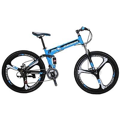EUROBIKE G4 Mountain Bike 26 inches 3 Spoke Wheels Dual Suspension Folding Bike 21 Speed MTB