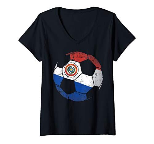 Womens Paraguay Soccer Ball Flag Jersey Art - Paraguay Football V-Neck T-Shirt ()