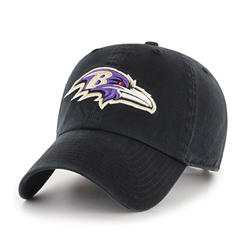 Baltimore Ravens Embroidered Football (OTS NFL Baltimore Ravens Challenger Clean Up Adjustable Hat, Black, One Size)