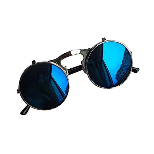 Couleur Lunettes en Métal silver Flip Vintage Rétro Cadre frame Soleil blue water de Cercle Rond pour Homme silver Lunettes SXqvww