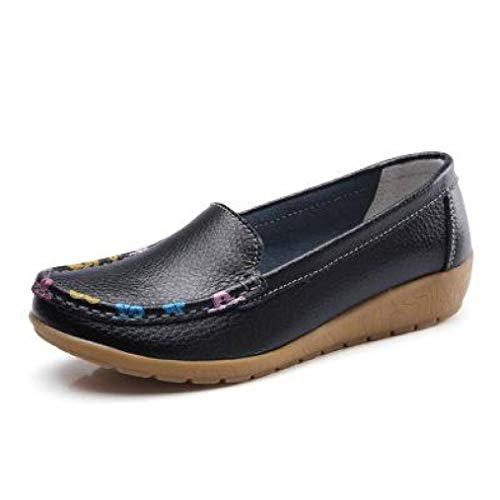 Women's Casual Slip On Driving Loafers Leather Floral Print Wedge Oxfords Comfort Walking Flat Shoes
