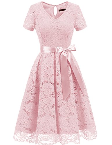 Elegant Pink Lace (Dresstells Women's Elegant Bridesmaid Dress Floral Lace Dresses With Short Sleeves Blush M)
