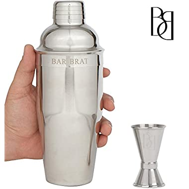 Premium SST Cocktail Shaker & 24 Oz. Mixer Set by Bar Brat / Bonus 110 Cocktail Recipes (ebook) & Jigger For Accurate Pours / Mix Any Drink To Perfection