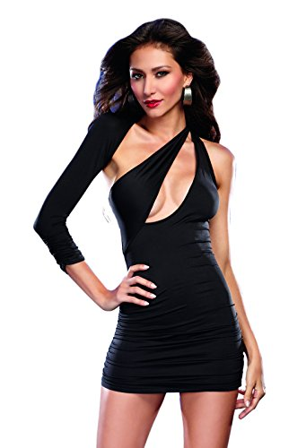 - Dreamgirl Women's Sexy Bodycon Asymmetrical Jersey Knit Club Mini Dress, Black, Large