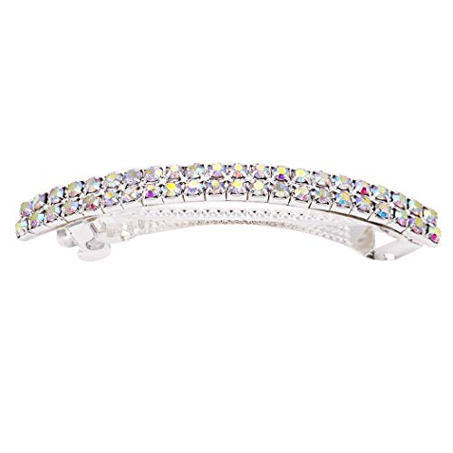 (Rosemarie Collections Women's Classic Style Double Row Crystal Hair Clip (Aurore)