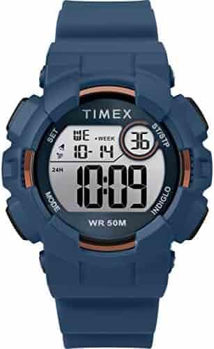 76ea37f8ad9c Timex Unisex TW5M23500 DGTL 44mm Blue Rose Gold-Tone Silicone Strap Watch