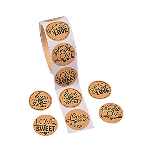 1 Roll ~ Sweet Love Candy Buffet Stickers ~ 100 Paper 1.5