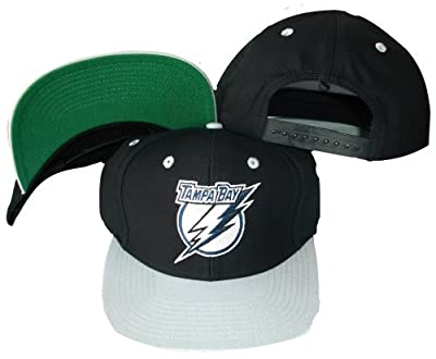 Reebok Tampa Bay Lightning Black/Silver Two Tone Snapback Adjustable Plastic Snap Back Hat/Cap from Reebok Licensed Division