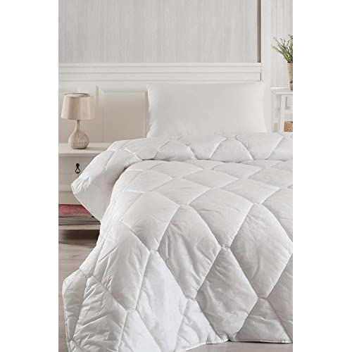 "Wholesale LaModaHome Luxury Soft Colored Bedroom 100% Polyester (Fiber Filling) Single Quilt (53.1"" x 78.7"")/Soft Relaxed Comfortable Bedspread White/Single Bed Size - MULTI VARIANTS in STORE!"