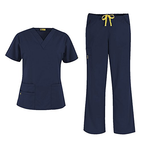 [WonderWink Origins Women's 6016 Bravo Top & 5026 Romeo Pant Medical Uniform Scrub Set (Navy - X-Large / XL] (Cute Uniform Outfits)