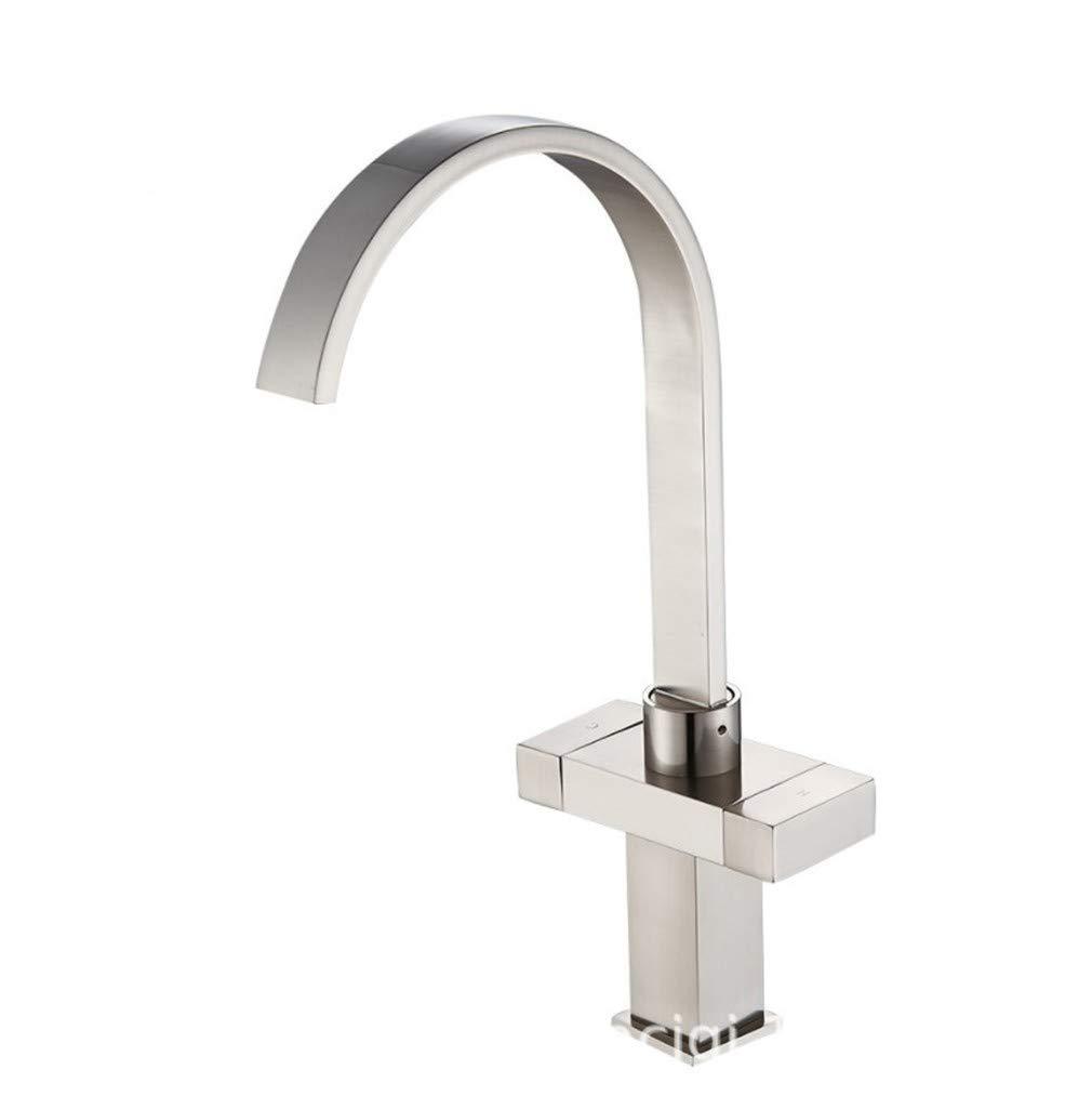 Edelstahl Einhand Mischer Einhebel Alle Kupferdraht Zeichnung Doppelgriff Küche Heißen Und Kalten Wasserhahn Waschbecken Becken Wasser Trog können Gedreht Werden.