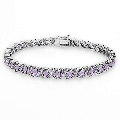 GemStar USA Sterling Silver Amethyst Marquise-Cut 6x3mm Tennis Bracelet with White Topaz - Emerald Sapphire Ruby Bracelet