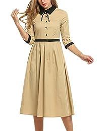 ACEVOG Women's Rockabilly 1950's Swing Hepburn Style Vintage Half Sleeve Long Dresses