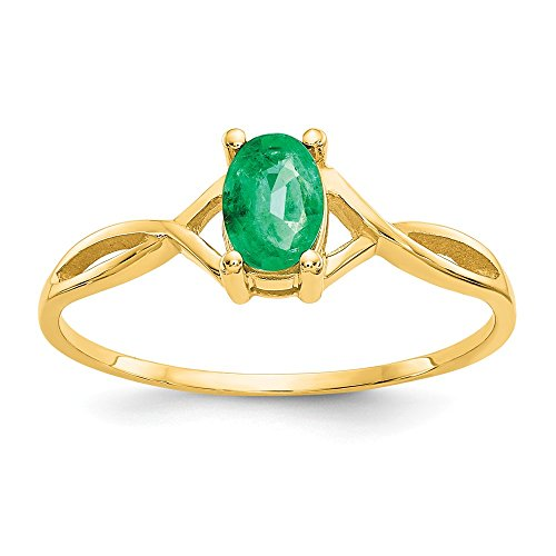 14k Yellow Gold Green Emerald Birthstone Band Ring Size 7.00 Stone May Oval Fine Jewelry Gifts For Women For Her