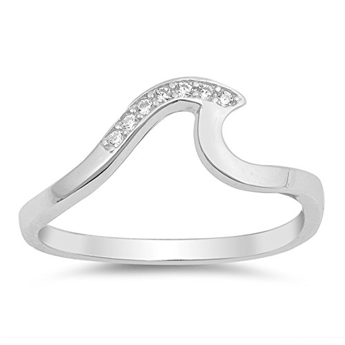 Ocean Wave Cubic Zirconia Ring - CloseoutWarehouse Clear Cubic Zirconia Classic Ocean Wave Ring Sterling Silver Size 6