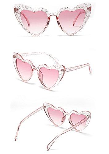 Rose de femmes Cool forme coeur été pour Outdoor Lunettes en de Rimmed femmes soleil BWq4ZO