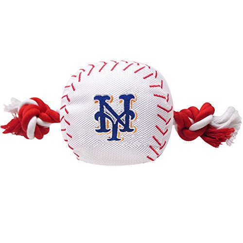 MLB NEW YORK METS Baseball Rope Toy for DOGS & CATS. Tough nylon, Sporty Baseball Design, Heavy-duty ropes with Inner SQUEAKER