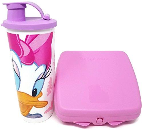 (Tupperware Disney Daisy Duck Tumbler & Sandwich Keeper Lunch / Snack Set, Pink)