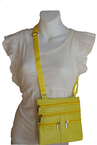 Yellow Ladies Genuine Leather Cross Body Bag Satchel Messenger Bag 48'' Strap by Wallet (Image #2)