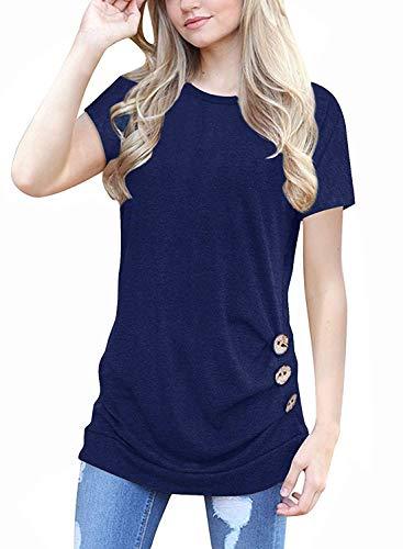 (MOLERANI Women's Casual Short Sleeve Round Neck Loose Tunic T Shirt Blouse Tops (M, Dark Blue))