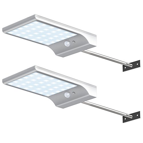 InnoGear Solar Gutter Lights Wall Sconces with Mounting Pole Outdoor Motion Sensor Detector Light Security Lighting for Barn Porch Garage, Pack of 2 -