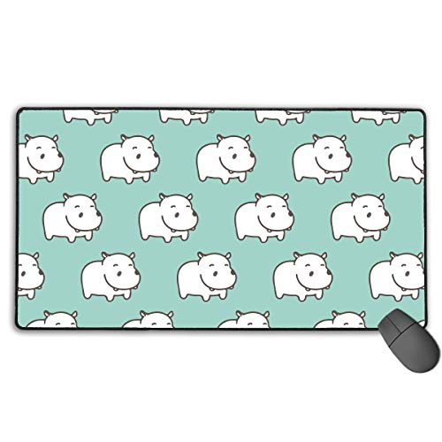(Large Wide Mousepad for Work Laptop Smooth Polyester Surface Large, Stitched Anti-Fray Edges, Non-Slip Rubber Base Computer Accessories, White Moustache,White Hippo Mint)