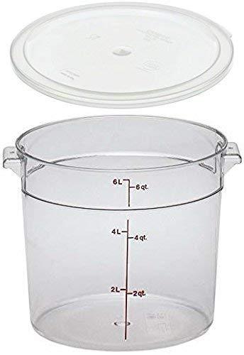 - Cambro RFSCW6135 Camwear 6-Quart Clear Round Food Storage Container with Cambro RFSCWC6135 Clear Round Lid