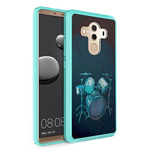 Huawei Mate 10 Pro Case, Capsule-Case Hybrid Slim Hard Back Shield Case with Fused TPU Edge Bumper (Teal Mint Green) for Huawei Mate 10 Pro - (Drums)