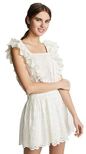 LOVESHACKFANCY Women's Dora Dress, Ivory, Off White, Large
