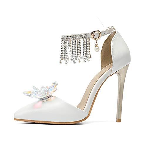 Tacchi Cinturino Punta Bianco White Alti Sandali Cristallo Diamante1 Da Donna Pompe Shoes Sera Hnm Caviglia Scarpe A Nozze Sposa Perla O0vwq6