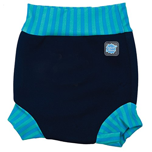 Splash About neoprene Happy Nappy (Swim Diaper), Navy with Blue Lagoon stripe rib, X Small (premature/new born - 2 months) by Splash About