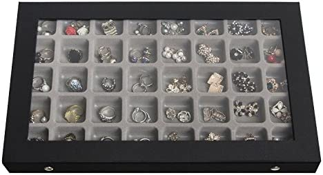 JackCubeDesign 40 Compartments Jewelry Display Tray Showcase Organizer Storage Box Slots Holder for Earring, Ring with Acrylic Cover Black, 16.97 x 9.7 x 1.65 inches MK333A