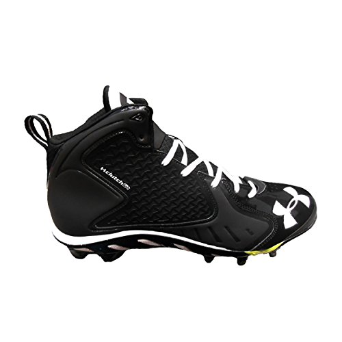 Under Armour Men's Spine Fierce Football Cleats (14, Black/White) (Cleats Blur Football Ua)