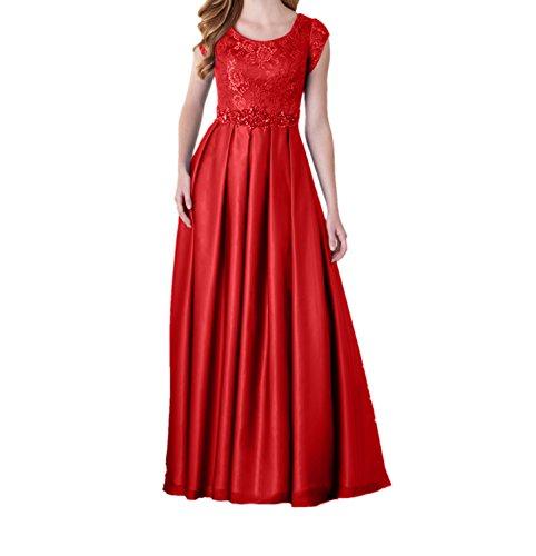 Abendkleider Rot Abschlussballkleider Ballkleider Partykleider mit Langes Festlichkleider Spitze Charmant Damen Kurzarm 4qfvw6nE7
