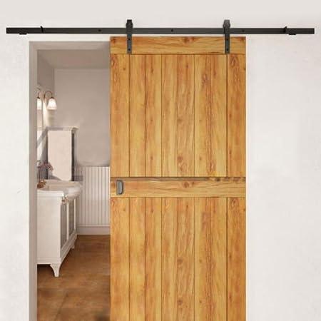 Herraje para Puerta de Granero Corredera de madera Puerta Deslizante Correderas Divisores Puertas Interiores y Armarios de Pared (200cm, Modelo A)