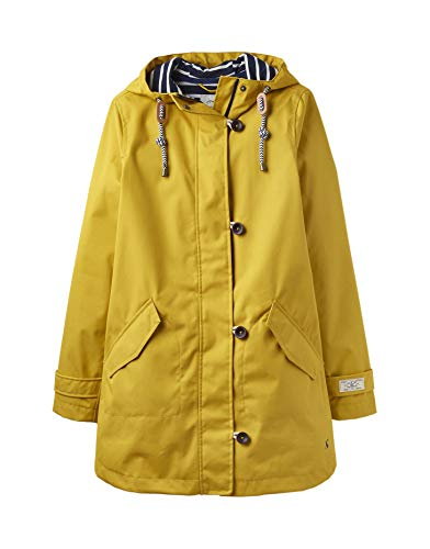 Joules Women's Coast Mid-Length Waterproof Hooded Rain Jacket (Antique Gold, US 4)