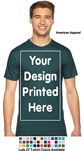 Custom T-Shirt. Personalized Tee. Add Your Design Logo Image Picture (M, Forest Green - American Apparel)