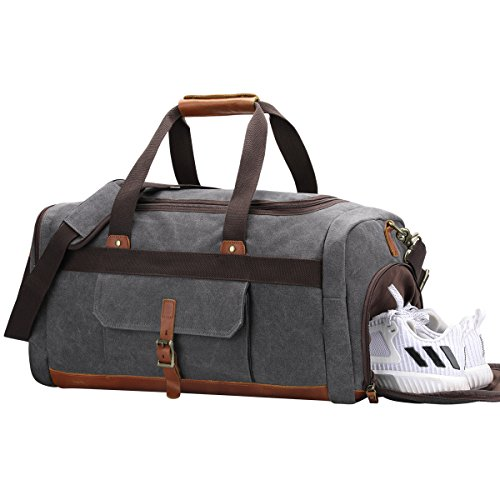S-ZONE Vintage Canvas Geniune Leather Trim Travel Tote Duffel Bag with Shoes Pouch from S-ZONE