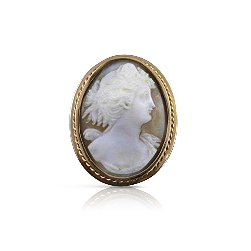 (Milano Jewelers LARGE 14K YELLOW GOLD ITALIAN LADY SHELL CAMEO PIN BROOCH PENDANT #19940 )