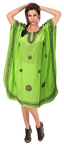 Verde camicia LA c751 notte abito kaftano raion donne LEELA ricamati da coprire vintage maxi tqtr7