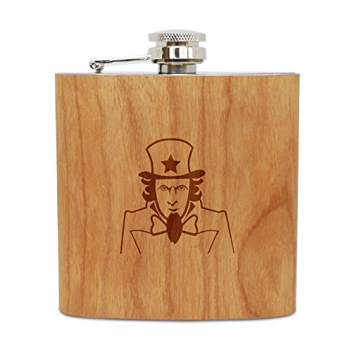 WOODEN ACCESSORIES COMPANY Cherry Wood Flask With Stainless Steel Body - Laser Engraved Flask With Uncle Sam Design - 6 Oz Wood Hip Flask Handmade In USA -